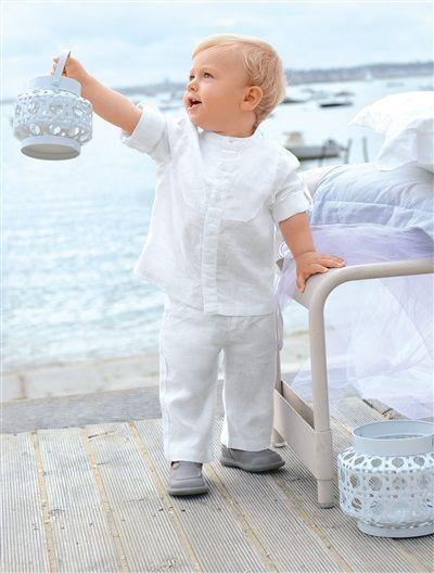 e1888040692d9 Pantalon lin et coton bébé garçon BLANC - vertbaudet enfant | ♛ ID ...