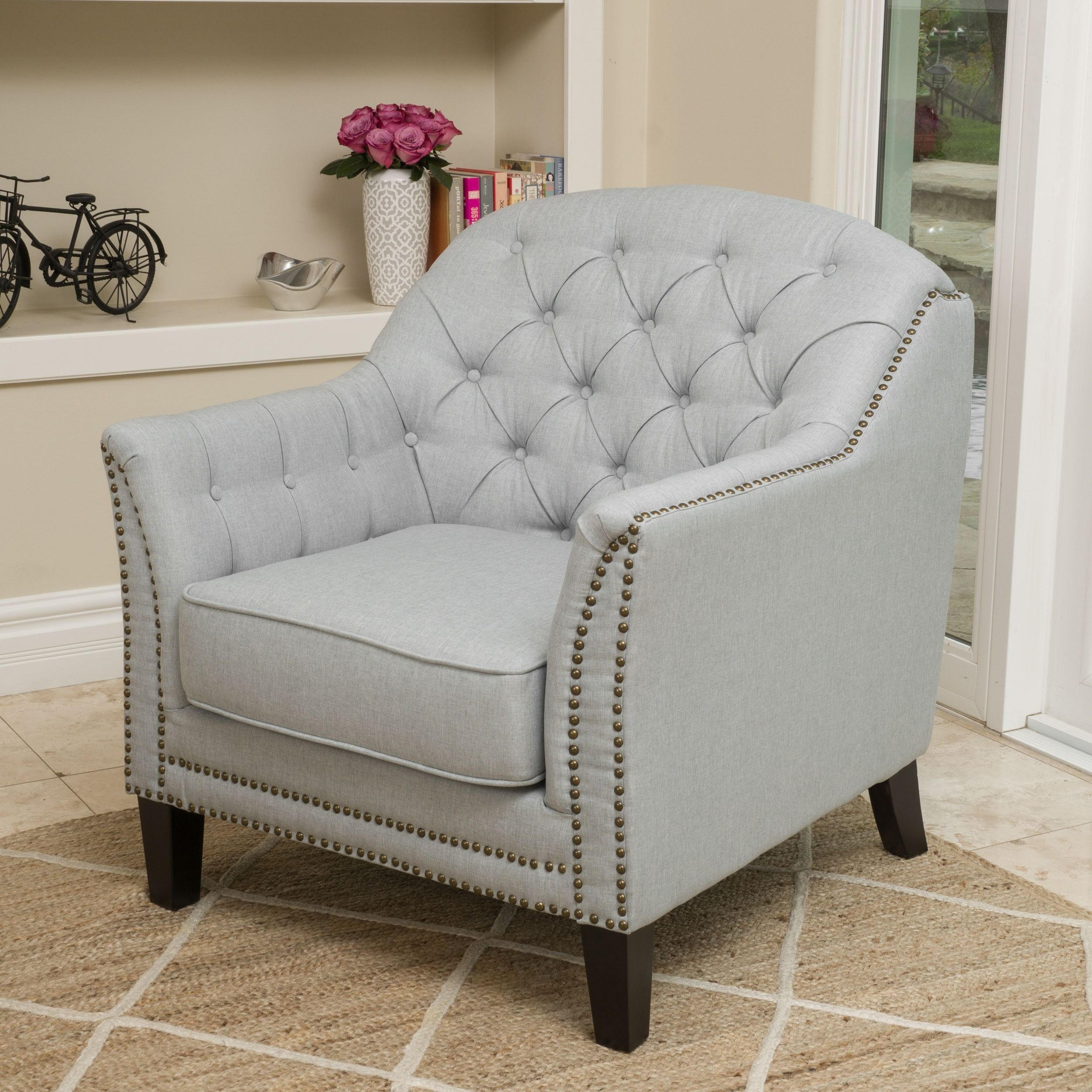 Coatbridge Fabric Club Chair By Christopher Knight Home (Light Grey)