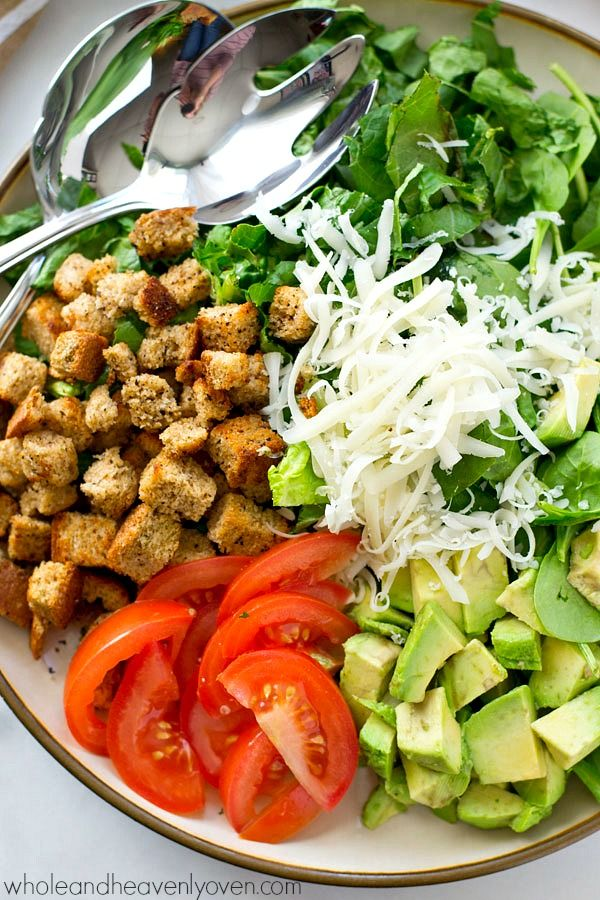 Avocado Spinach Caesar Salad With Light Buttermilk Dressing Whole And Heavenly Oven Recipe Caesar Salad Salad Buttermilk Dressing