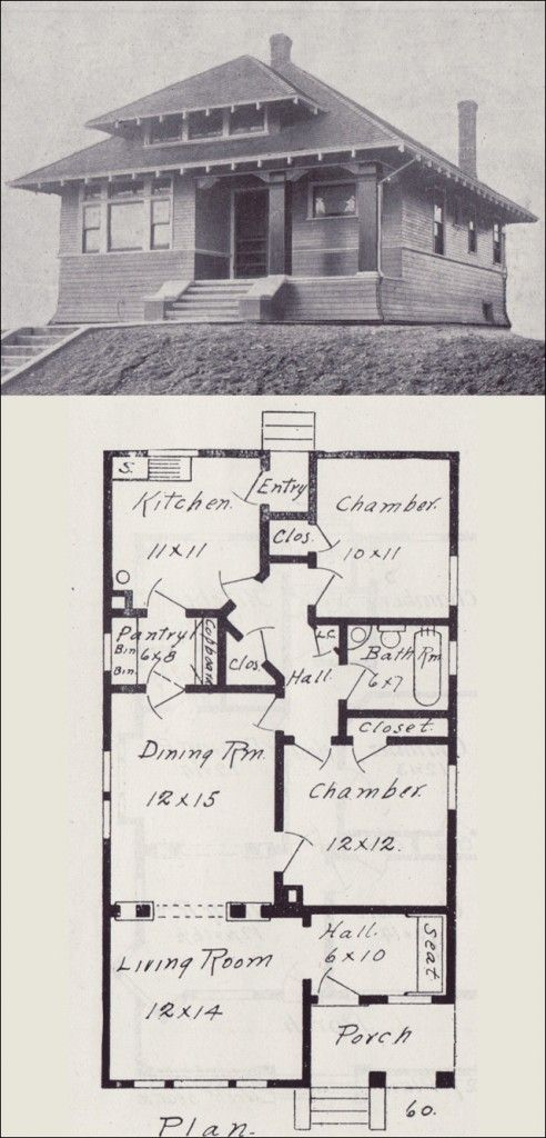 Old Vintage Bungalow House Plan Early 1900 S How To Build Plans