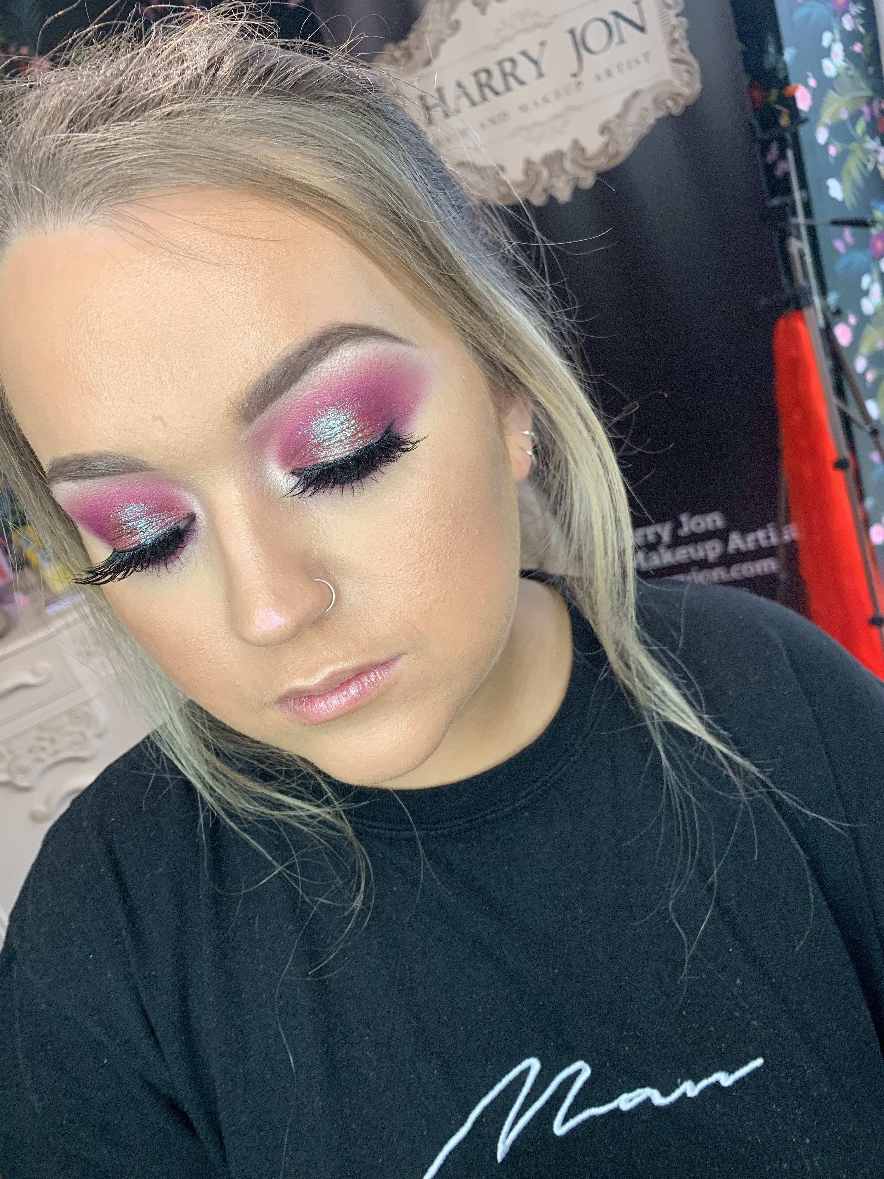 Pretty pink spotlight eye makeup, created with bperfect