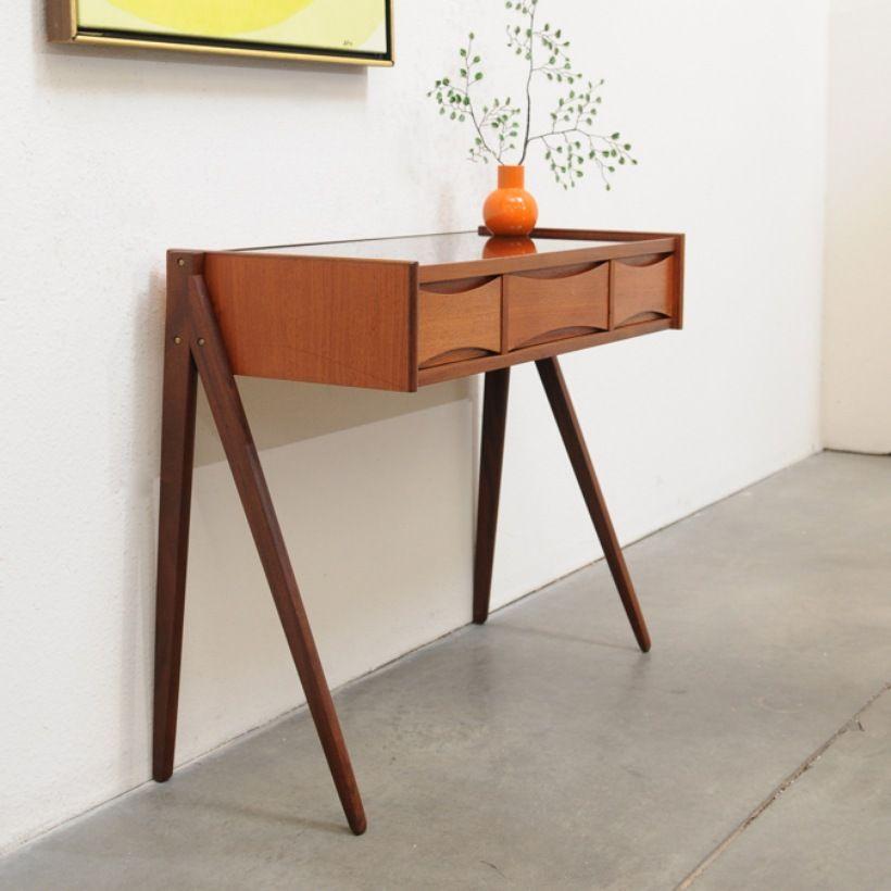 Danish Teak Entry Chest Table Arne Vodder Table Modern Wood Bench Entry Table