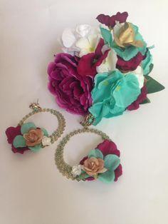 ddf539fb3c06  Flamenca  Flores  Diadema  Zalcillos  Celeste  Burdeos  Mujer  Complementos
