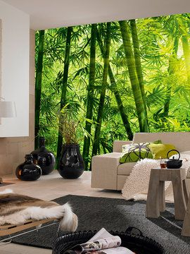 Bamboo forest wall mural from wall rehab temporary for Bamboo forest mural wallpaper