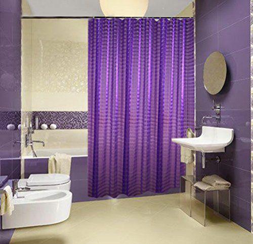BYMEE 3D Effect EVA Bathroom Shower Curtains Liner Bath Curtain With HooksWaterproofMildew Resistant72 X 72Purple