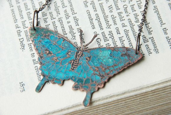 Butterfly Necklace Copper Etched And Hand Pierced With Blue Green Patina by steampunkfunk