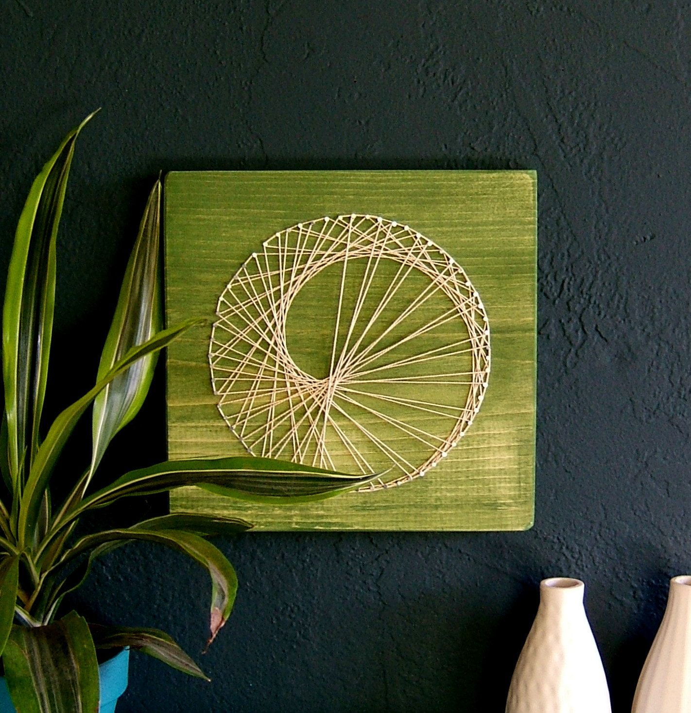 Modern String Art Wooden Tablet - Sea Snail on Green Tea | String ...