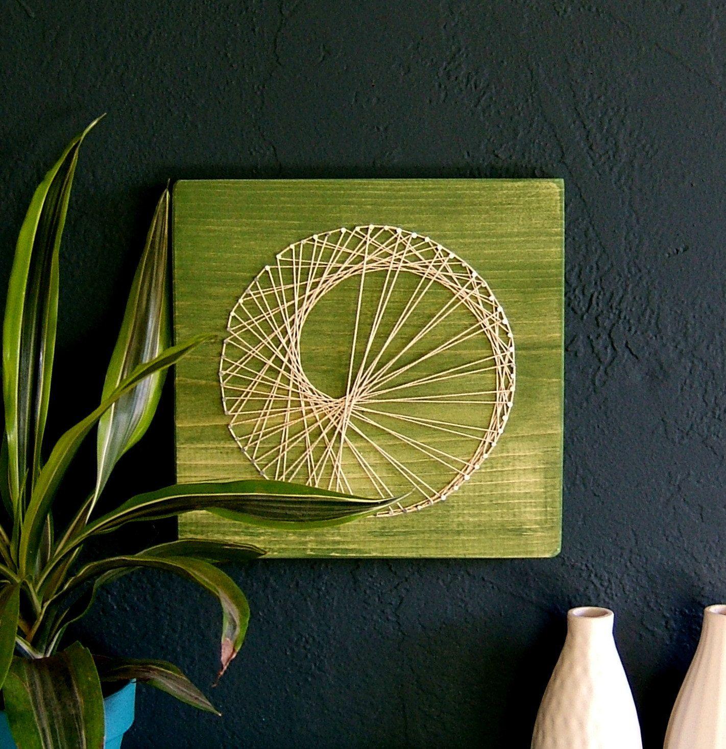String Art Modern String Art Wooden Tablet Sea Snail On Green Tea String