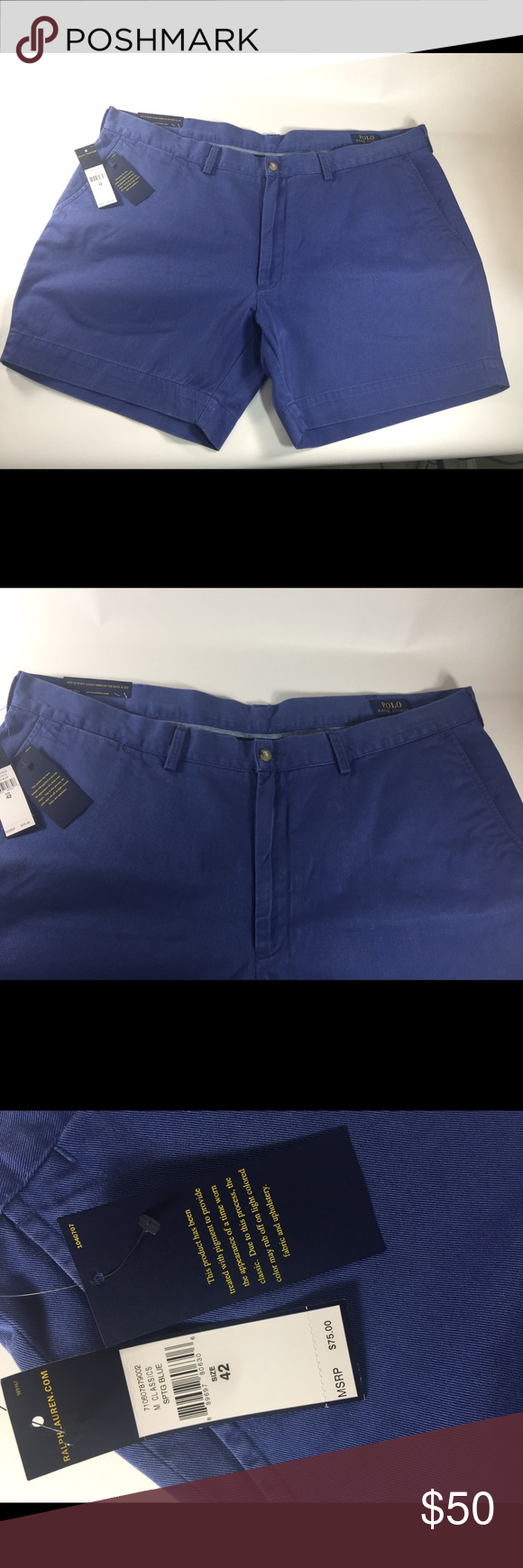 """Polo Ralph Lauren Blue Classic Shorts Size 42 Up for sale is this pair of Mens Ralph Lauren Flat Front Shorts in a size 42 that are brand new with tags! • Waist measures 42.5"""" and length 16"""". • Straight through hip & thigh • Soft but durable twill • Two front pockets; two back button pockets • 100 % Cotton • Machine wash Ralph Lauren Shorts Flat Front"""