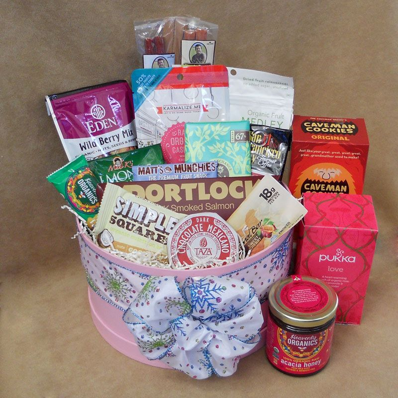Indulge them in a holiday bounty this lovely hatbox is filled send a healthy gift for any occasion our gifts are gluten free soy free peanut free and dairy free negle Image collections