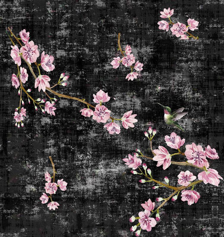 Blossom Fantasia Black Pink Wallpaper, Per Yard