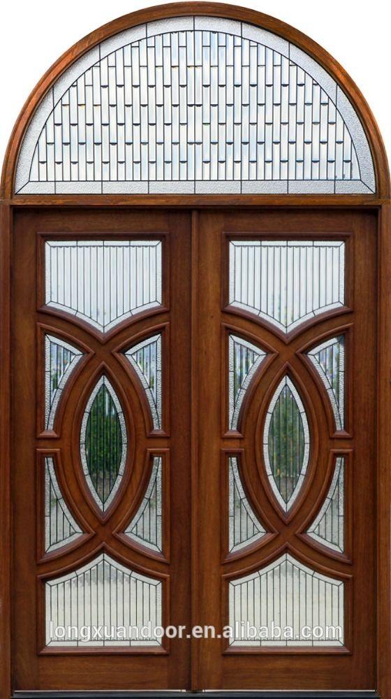 Arco de madera maciza puerta doble puerta de vidrio de for Puertas principales de casas