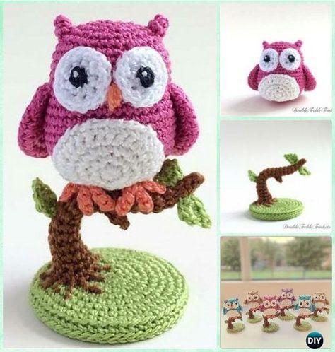 Ganchillo del búho en un árbol libre del patrón Patrones-Crochet ...
