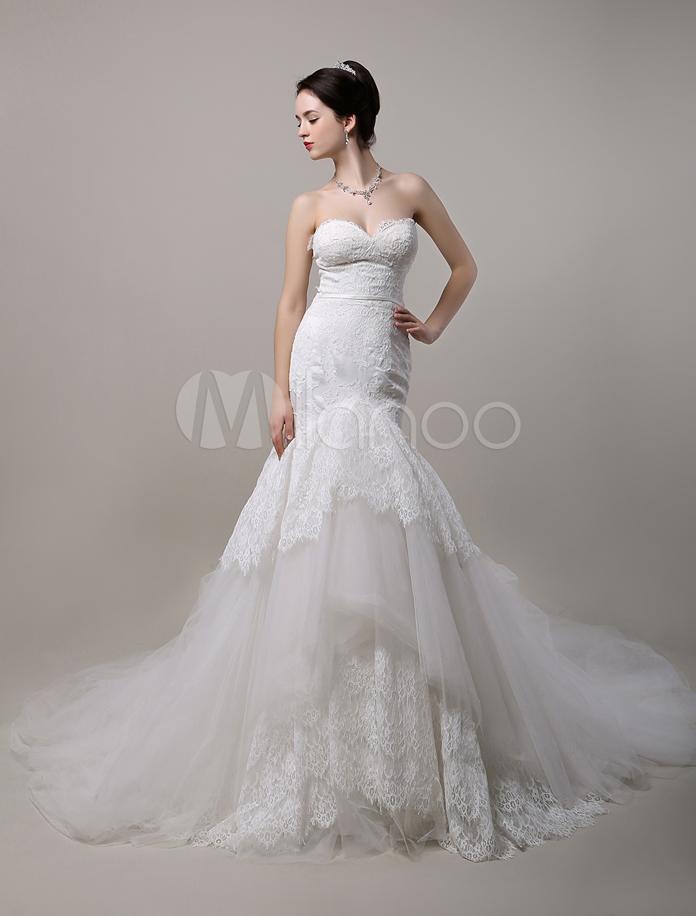 Mermaid Sweetheart Cathedral Train Lace Tulle Wedding