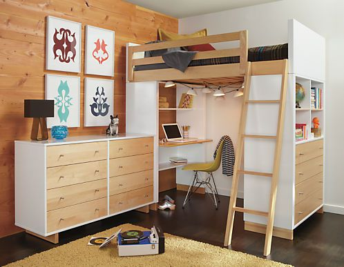 Moda Kids Wood Loft With Desk Dresser Modern Bunk Beds Loft