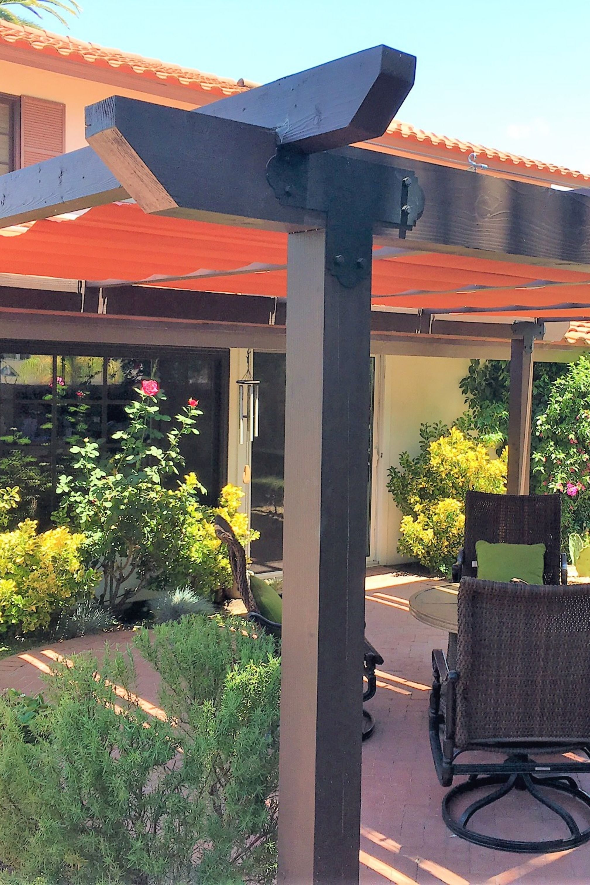 Backyard Pergola With Red Fabric Canopies Over Patio Pergola Shade Cover Pergola Shade Backyard Pergola