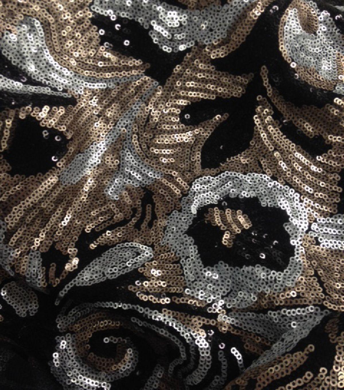 All That Glitters Fabric- Deco Sequin Scroll Multi