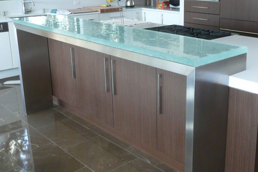 Glass Kitchen Countertops It might look interesting with white