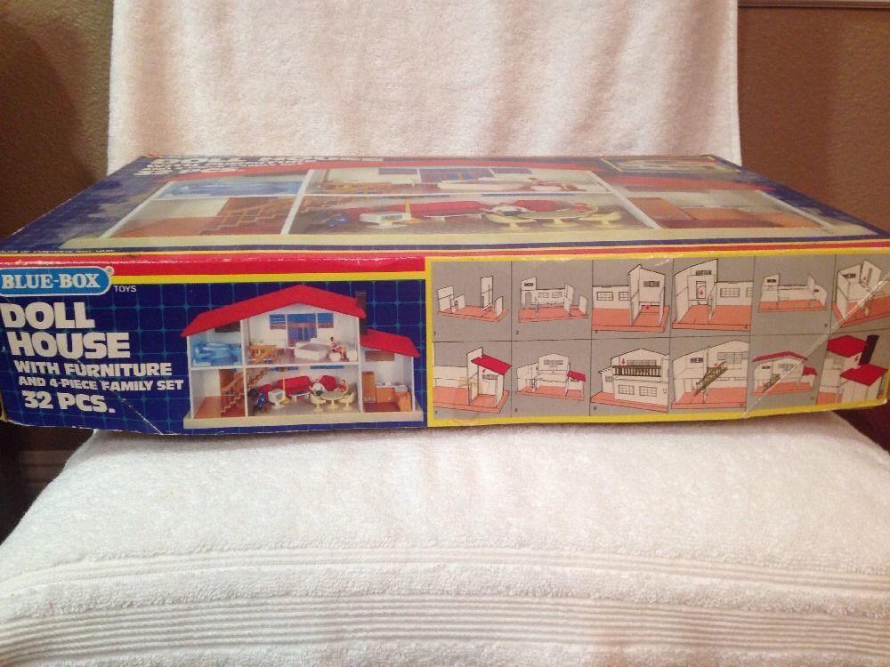 RARE VINTAGE BLUE BOX DOLL HOUSE 1974 FURNITURE | EBay