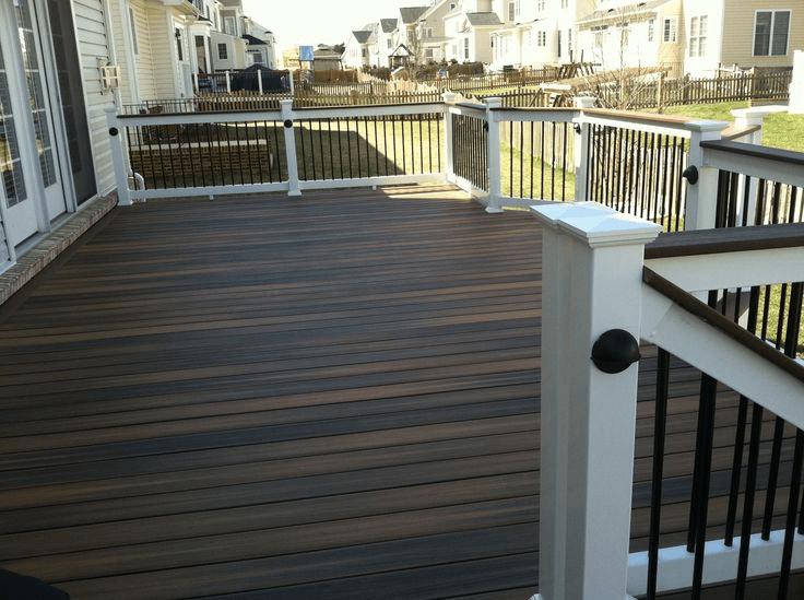 Horizontal Dark Stained Porch Flooring Idea Porch