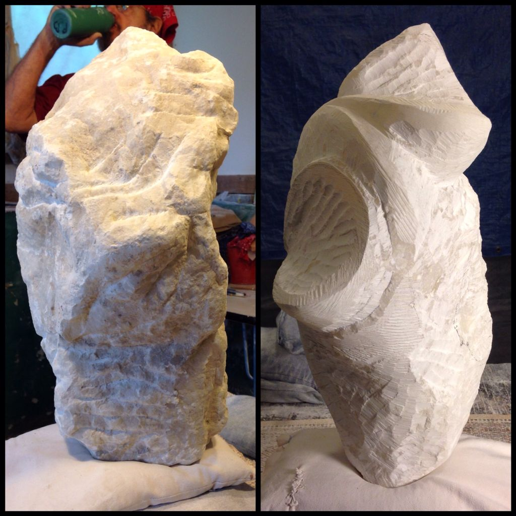 Opus 176 - In the making - day 1 and day 5 #peterbellonci #sculptor #sculpture #artwork #artist#Austin#alabaster#hand-tooled