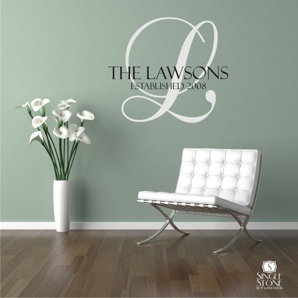 Family Monogram Wall Decal Vinyl Wall Stickers Art Graphics - Custom vinyl wall decals sayings for family room