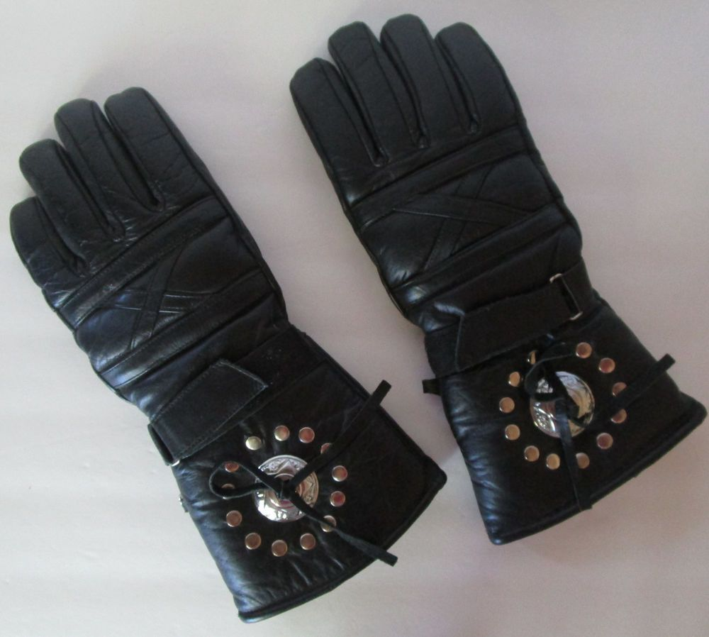 Motorcycle gloves thinsulate - Details About Vtg Gauntlet Motorcycle Gloves Black Mens Medium Insulated Thinsulate Biker