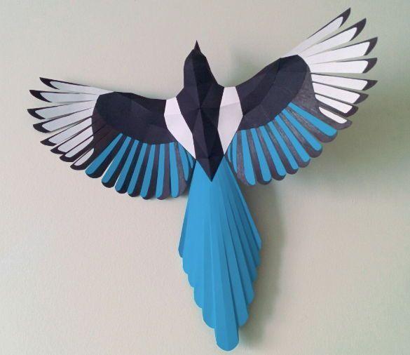 New Paper Craft] Animal Paper Model – Magpie Free Bird Papercraft