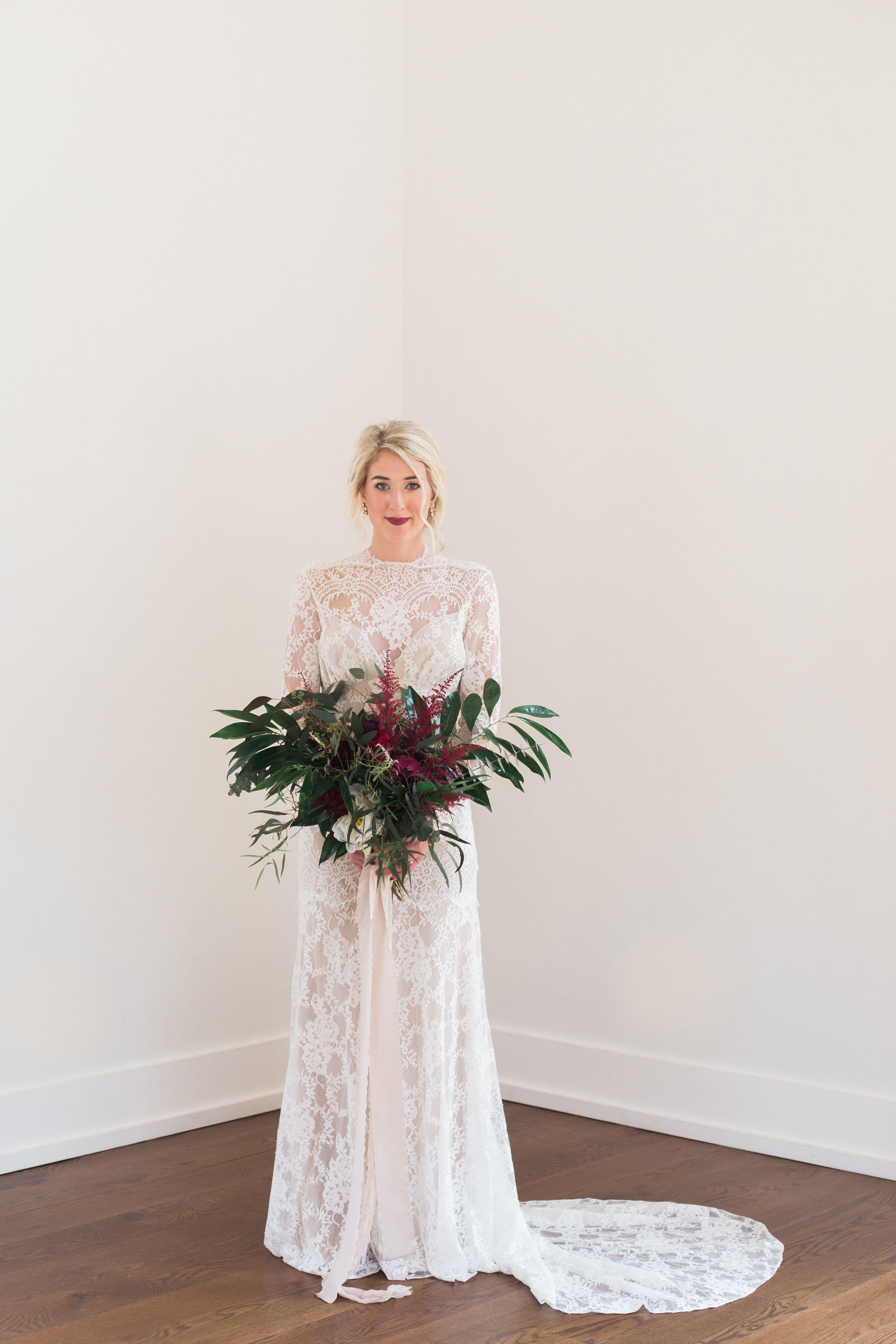 Lace Wedding Dress Wild Flower Greenery Bouquet Venue