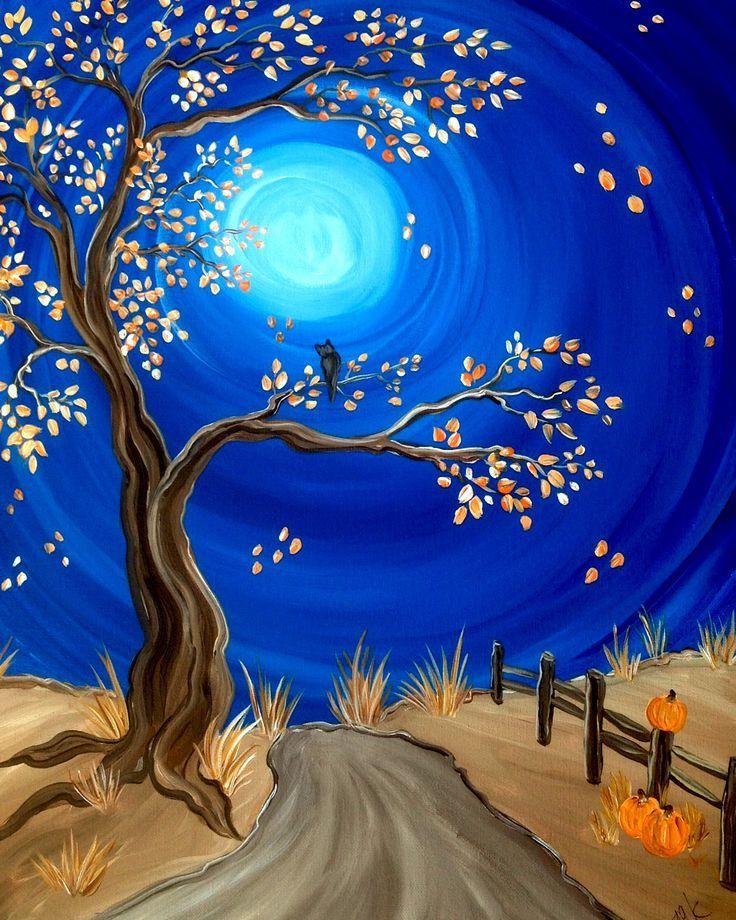 Photo of Paint Party – 'Autumn Night' eine der vier Jahreszeiten Baummalereien … beliebt bei … – Herbstgq