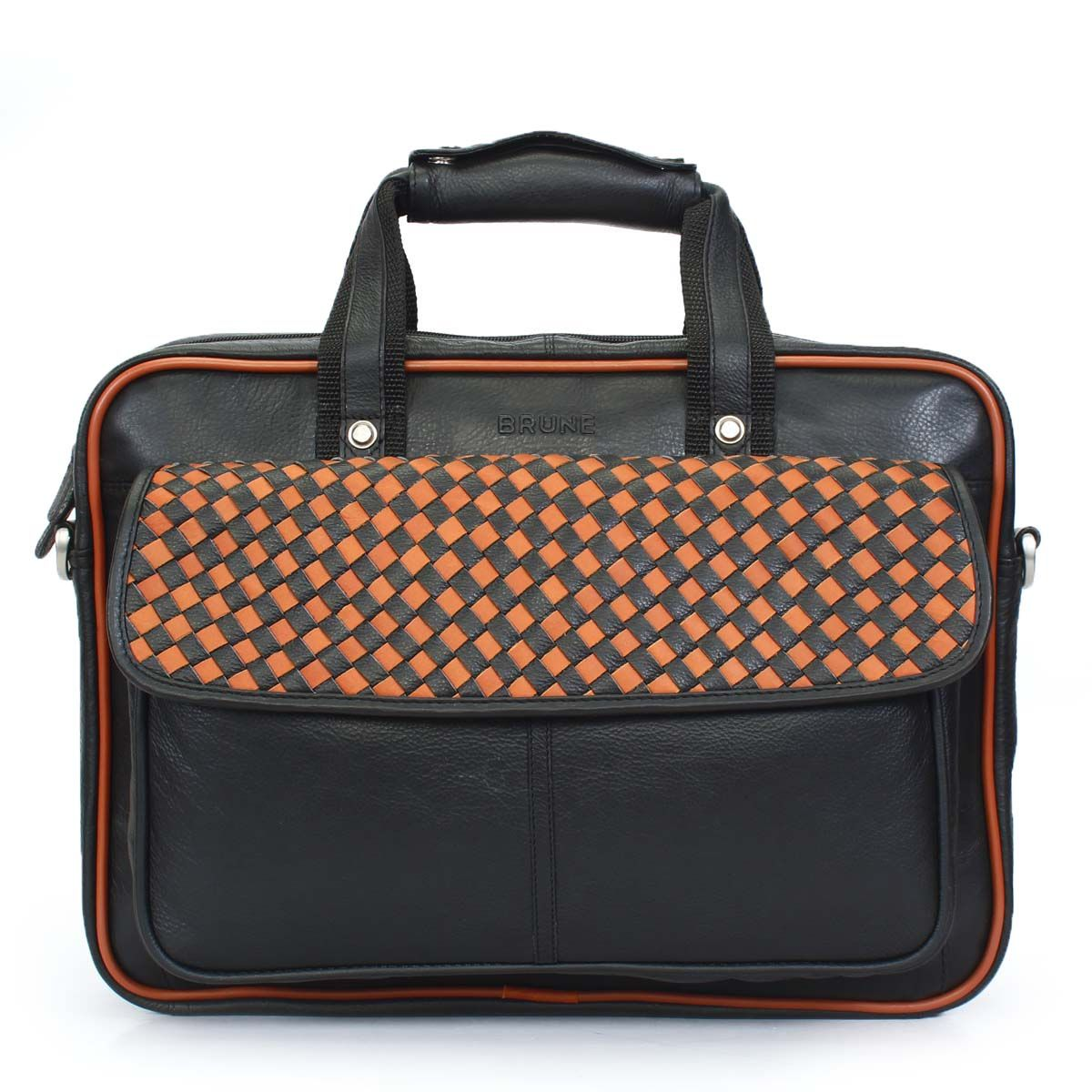 Buy online #BRUNE BLACK/TAN WEAVING OFFICE MESSENGER #BRIEFCASE @ voganow.com for Rs.6,999/-