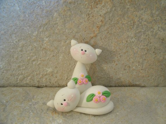 polymer clay garden kitty pair sculpted figures. Black Bedroom Furniture Sets. Home Design Ideas