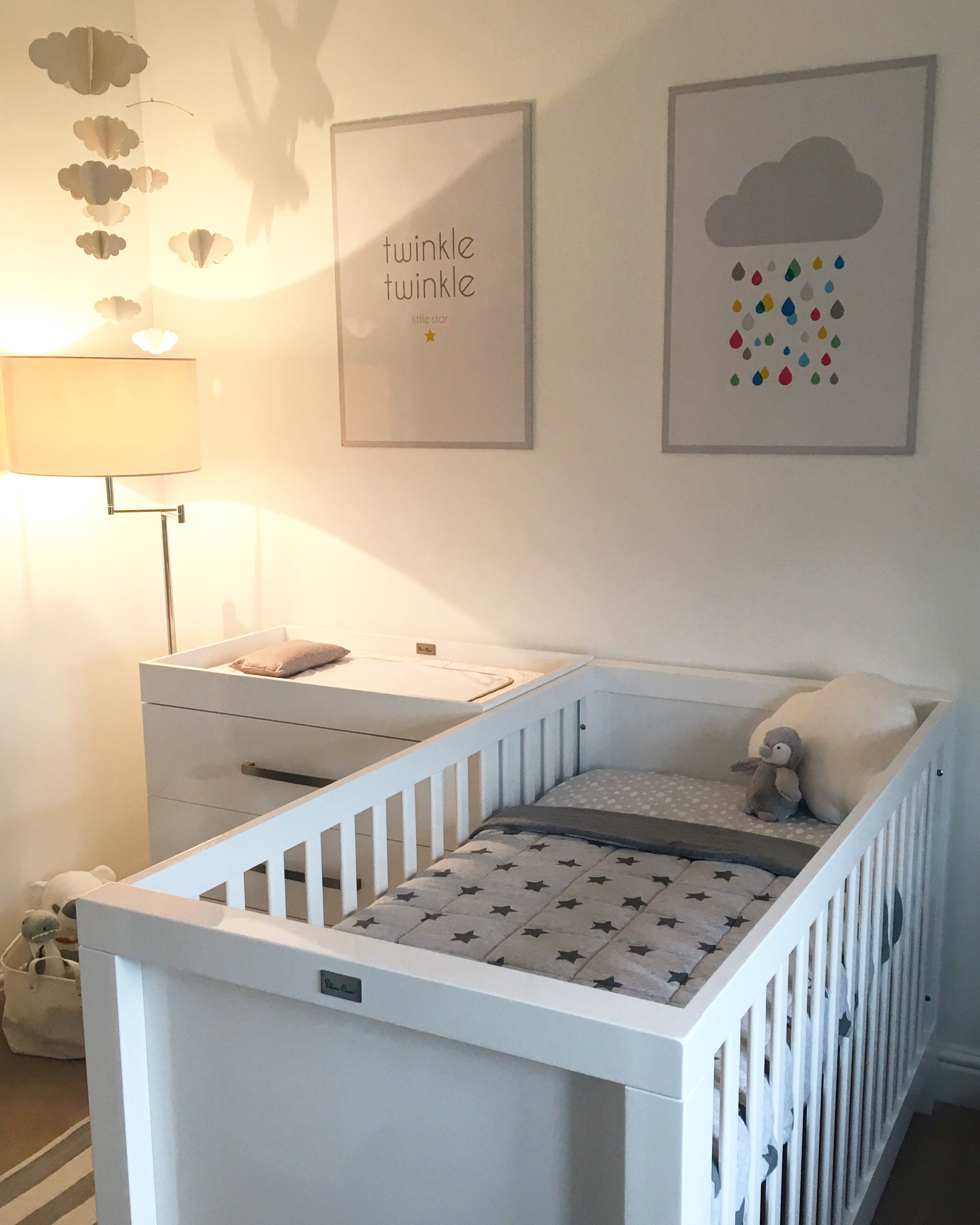 First Baby's Nursery. Team Yellow. Grey & White. Clouds