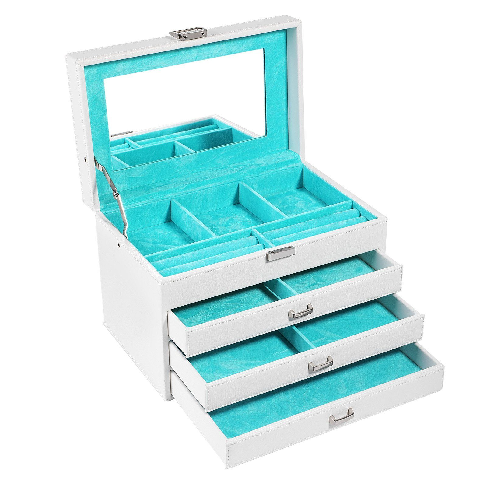 SONGMICS Jewelry Box Organizer Leather Jewelry Storage Case with