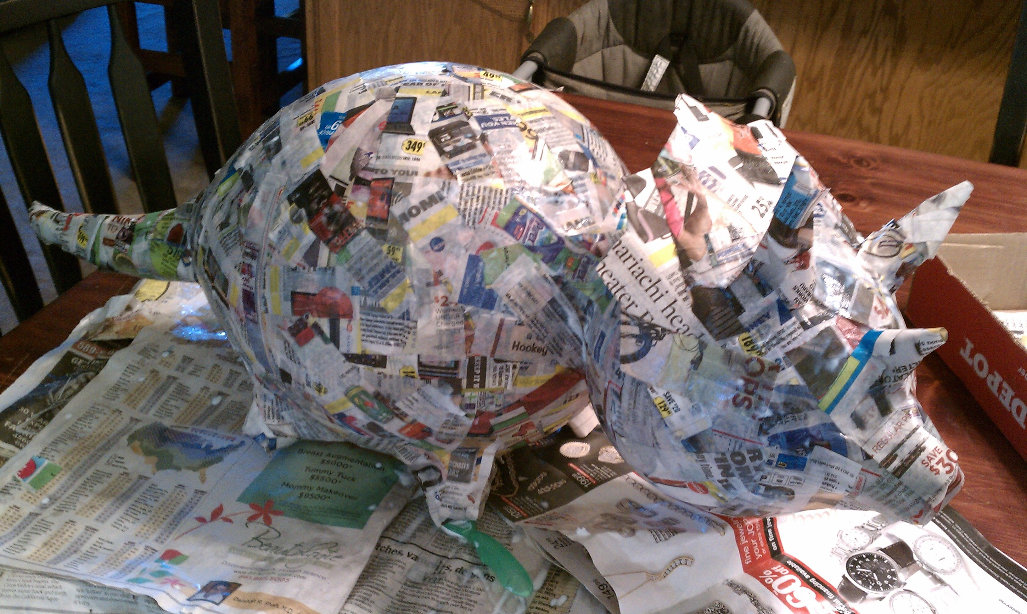 paper mache dinosaur pinata in the works the kids loved