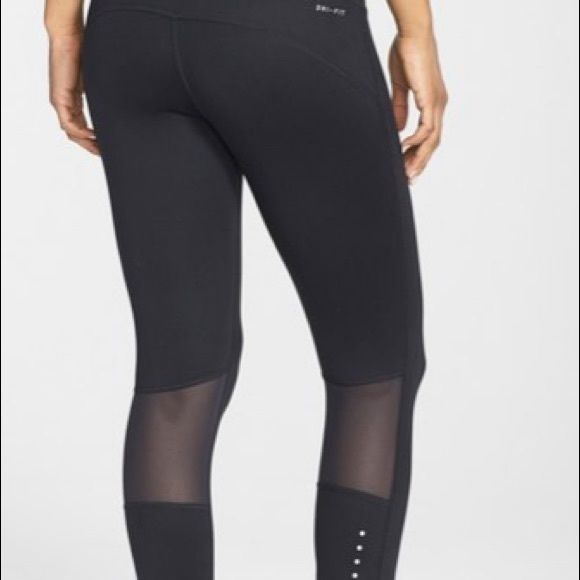size 40 13d81 92851 Nike  Epic Run  Dri-FIT Crop Tights Tie in front, zipper in back, very  trendy and breathable mesh on back of knee, crop right below the calf Nike  Pants ...