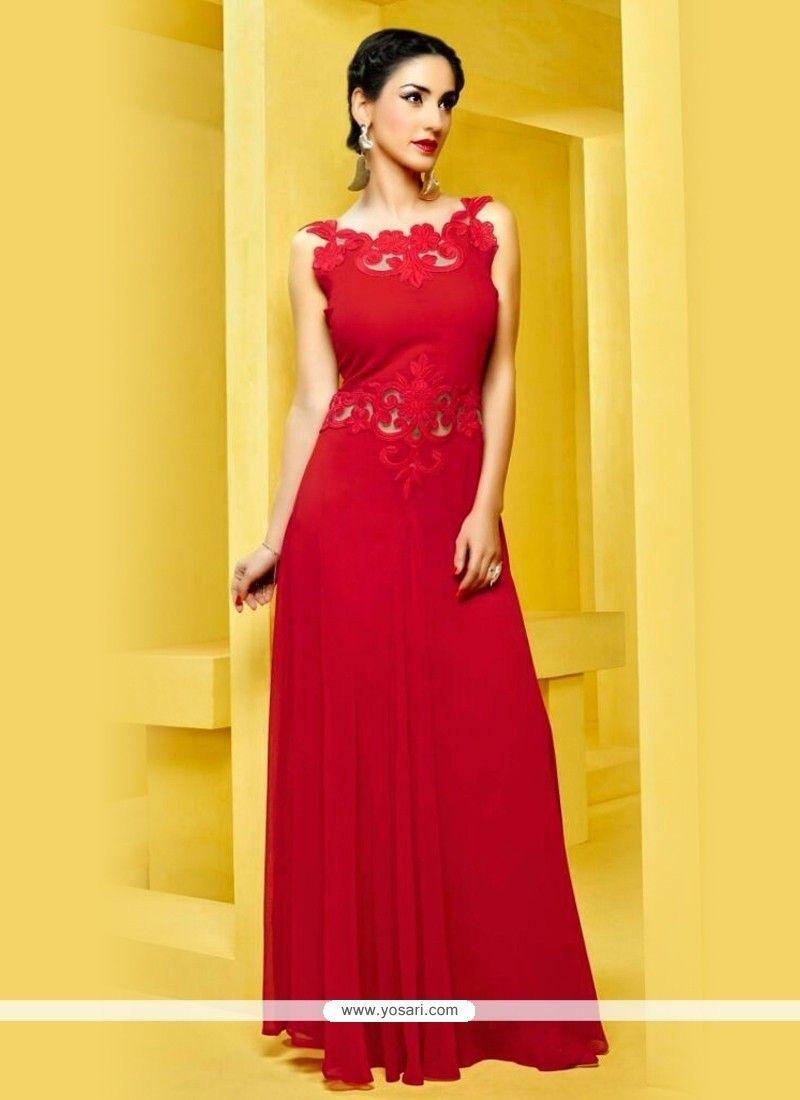 Imposing Red Georgette Designer Kurti Model: YOKU281