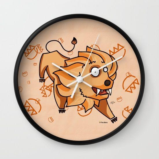Leo Wall Clock#funny #artwork #drawing #art #thesbirù #comic #cartoon #puppet #society6 #society6art #artprint #mug #tshirt #duvet #pillow #shopart #children #joy #child #fun, #humor #happiness #childhood #smile #kid #illustration