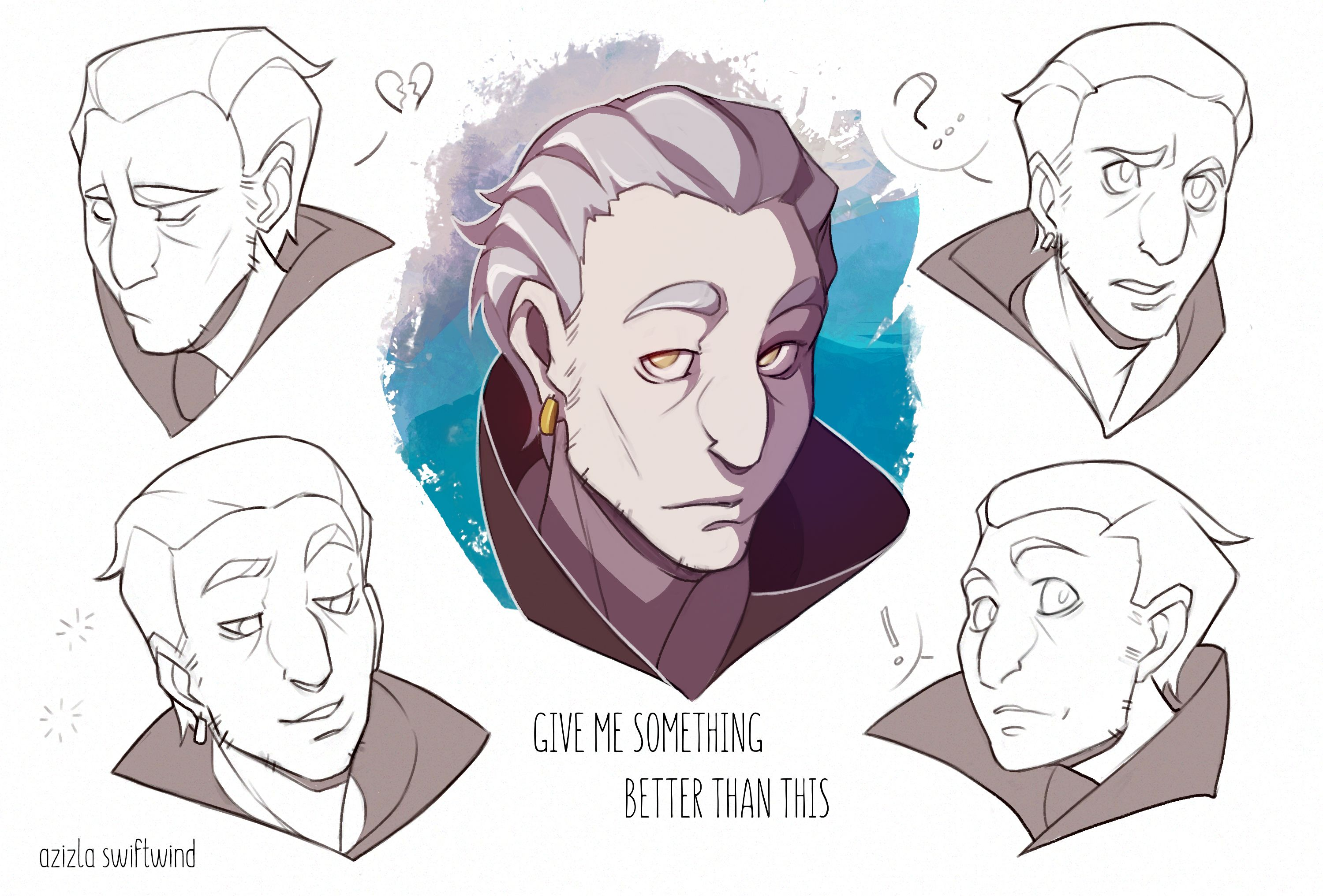 Modest OC character emotions face head sheet reference