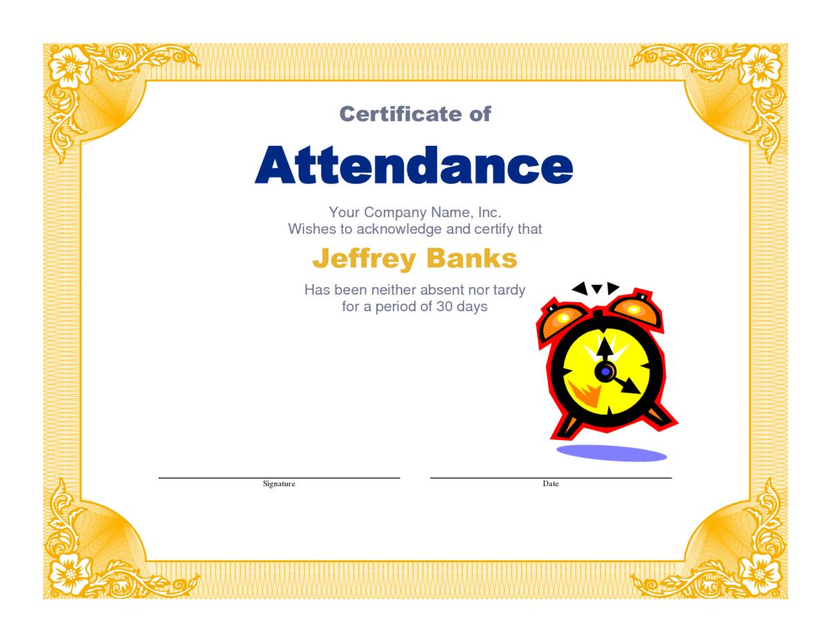 Attendance Clipart Participation Student Attendance Throughout Perfe Attendance Certificate Perfect Attendance Certificate Certificate Of Recognition Template