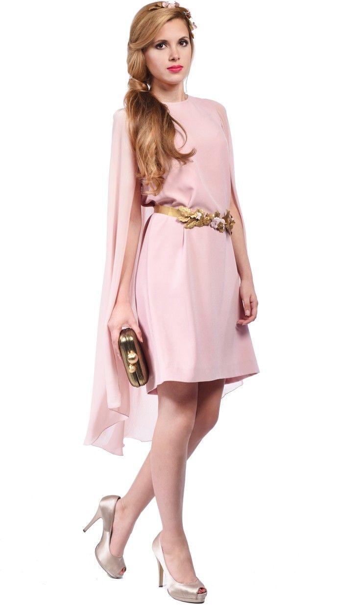 DRESSEOS - Vestido con capa de gasa rosa - Alquiler vestidos fiesta ... 656ed1ef423d