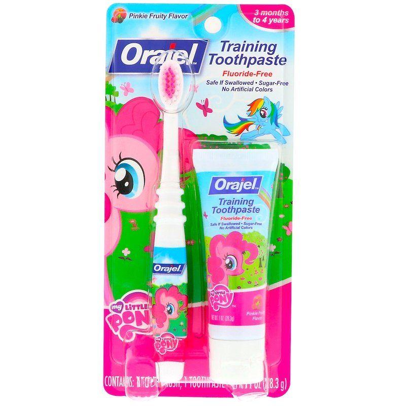 Orajel معجون أسنان My Little Pony لتدريب الأطفال مع فرشاة أسنان خال من الفلورايد من عمر 3 شهور حتى 4 سنوات بنكهة الفاكهة الوردية أونصة واحدة 28 3 جم Brushing Teeth Toothpaste Paraben Free Products