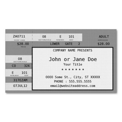 Concert ticket business card templates Music Themed Business - make your own concert tickets