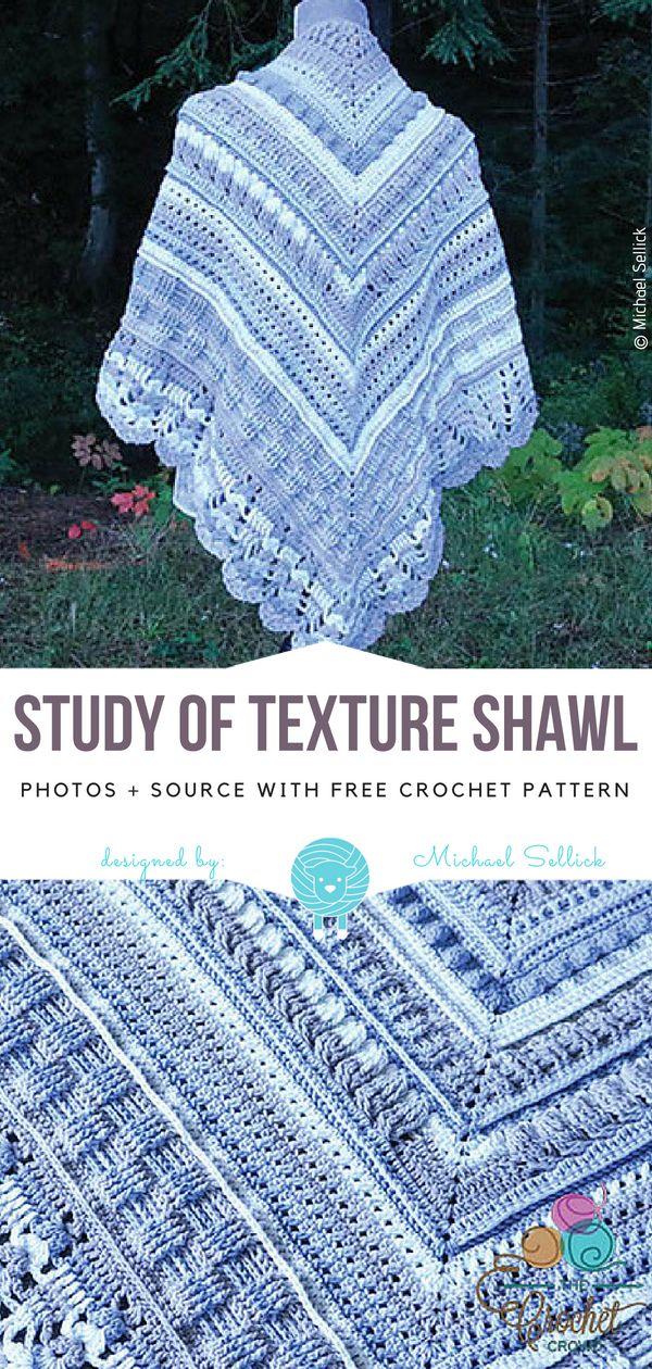 Studie des Textur-Schal-freien Häkelarbeit-Musters #crochetshawlfree