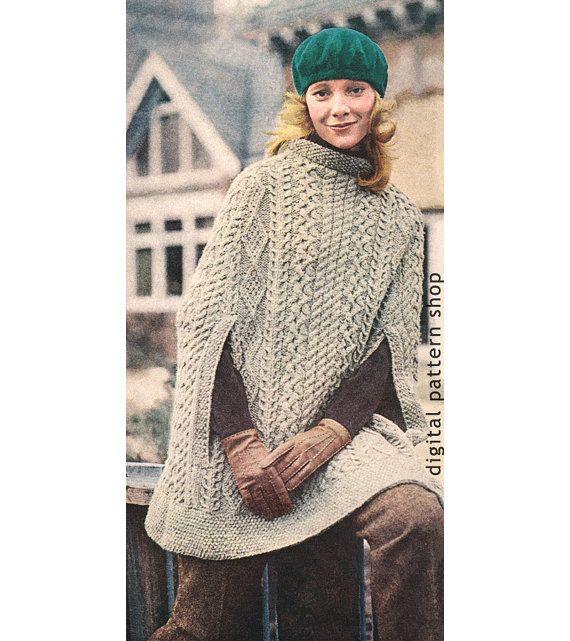 Vintage 1970s Knit Cape Pattern- Womens Irish Aran Poncho Knitting ...