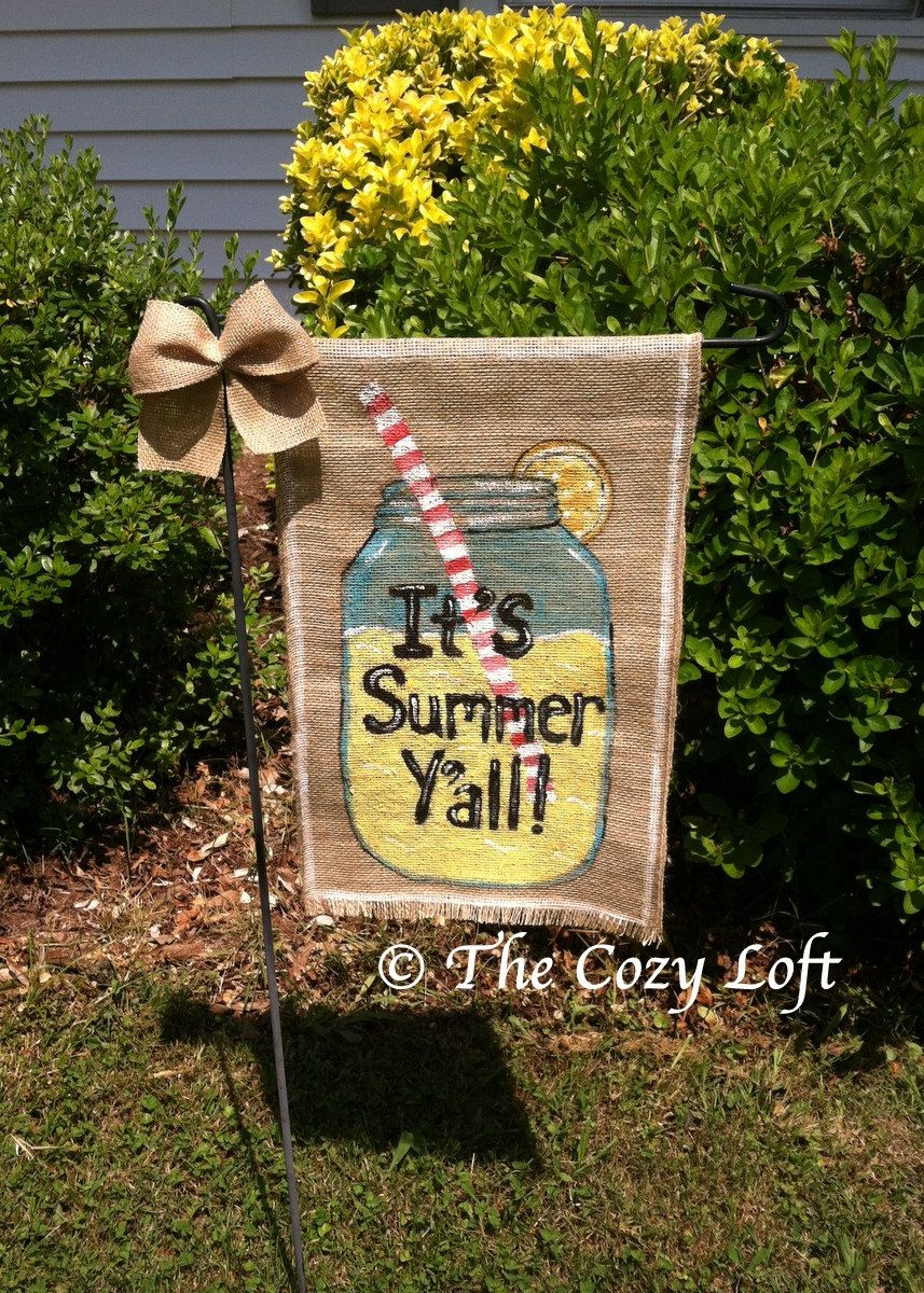 Lemonade It\'s Summer Y\'all Country Mason Jar Burlap Garden Flag ...