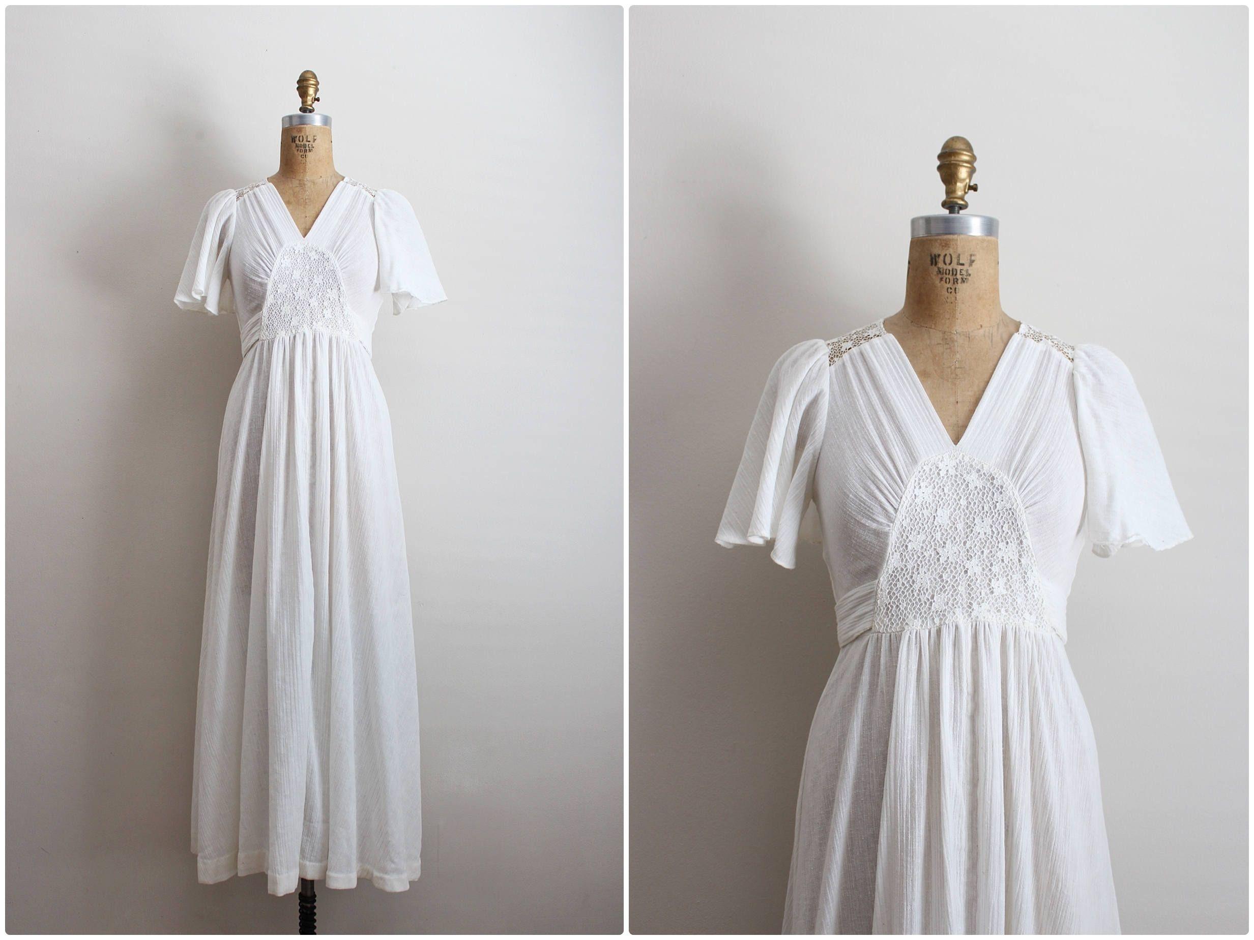 70s White Maxi Dress Vintage Gauze Lace Dress Boho Wedding Etsy Lace Dress Boho Vintage Maxi Dress White Maxi Dresses [ 1849 x 2465 Pixel ]