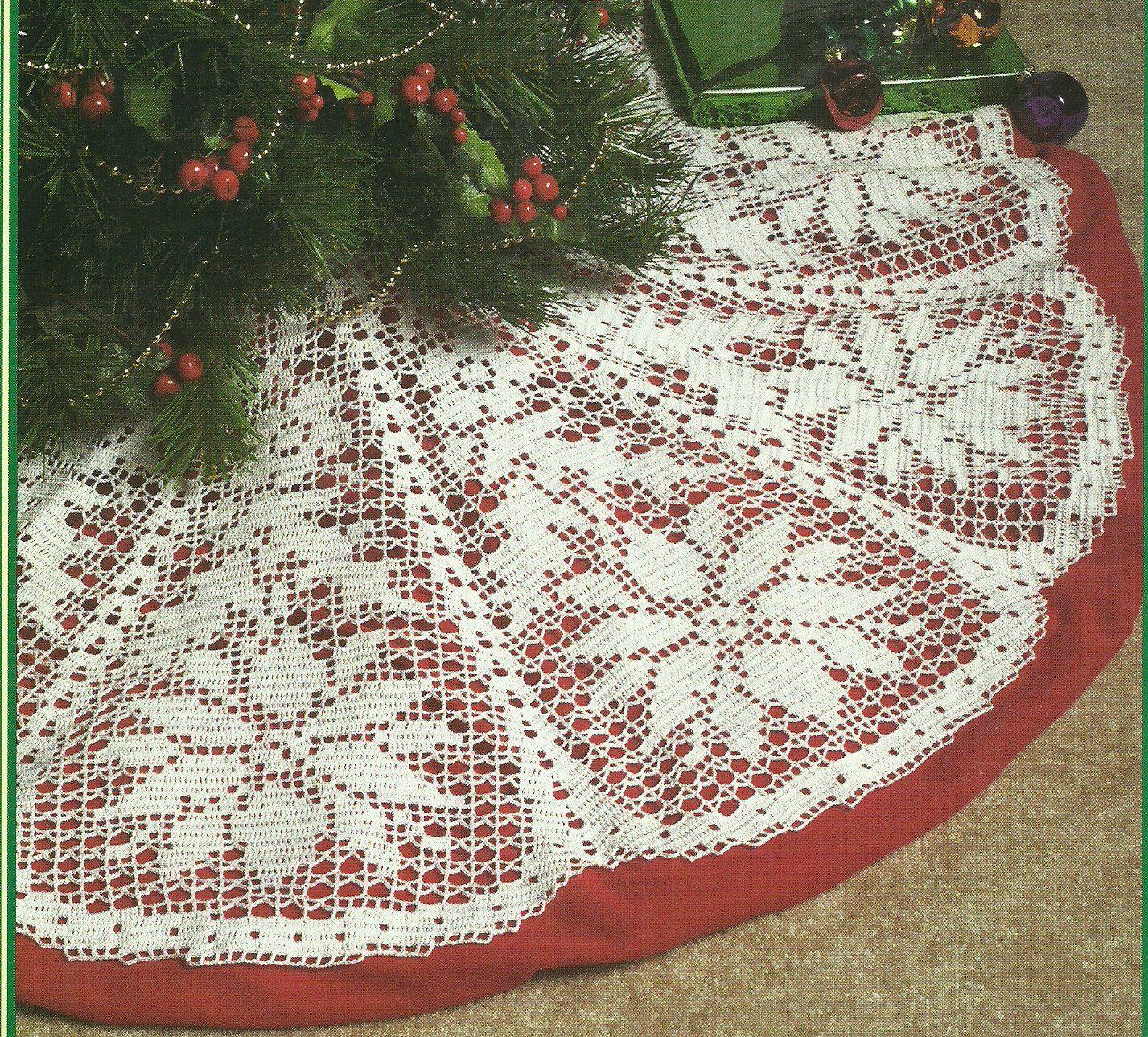 White+Christmas+Collection+-+Poinsettia+Tree+Skirt+-+Filet+Crochet ...