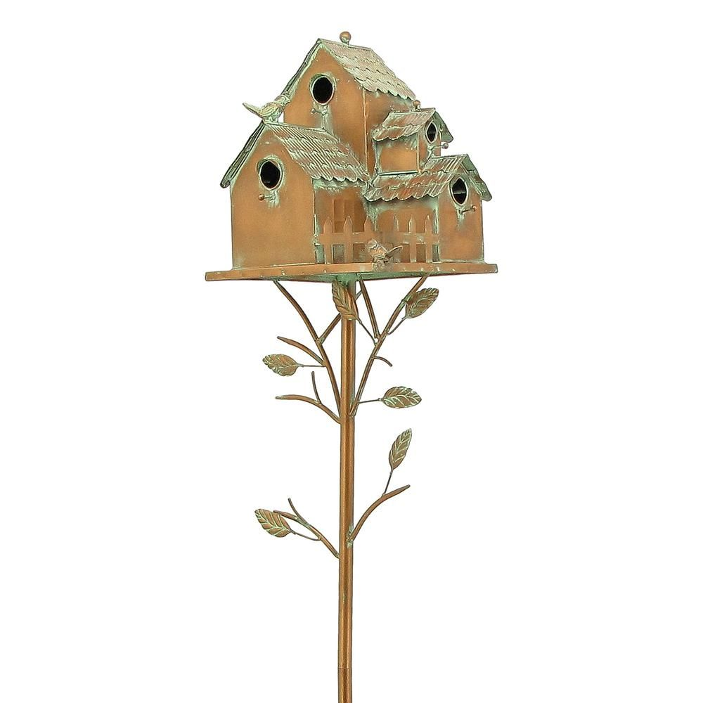 Zaer Ltd International Doylestown Copper Multi Bird Condominium Birdhouse Stake Copper Finish In 2020 Bird Houses Bird House Copper Roof