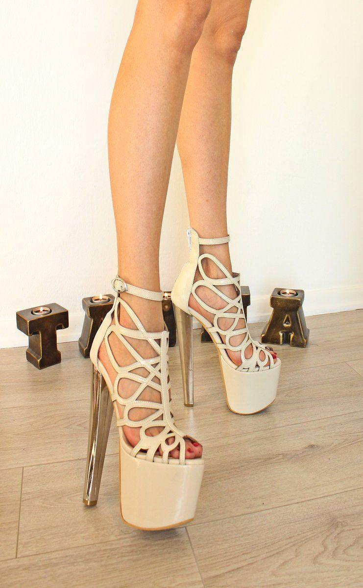 28b19043cbd6 Cream Lazer Cage Stylish 19-20 cm High Heel Platform Women Shoes High  Quality